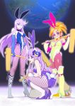 3girls ahoge animal_ears boots bow brown_hair bunny_tail bunnysuit cure_bright cure_moonlight cure_selene earth elbow_gloves fishnet_legwear fishnets futari_wa_precure_splash_star gloves hair_over_one_eye heartcatch_precure! high_heel_boots high_heels hyuuga_saki kaguya_madoka kine mallet moon_rabbit multiple_girls muramura_hito pantyhose precure purple_hair rabbit_ears smile squatting star_twinkle_precure tail tsukikage_yuri