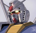 close-up commentary glowing glowing_eyes grey_background gundam looking_ahead mecha mobile_suit_gundam no_humans raruru rx-78-2 signature solo v-fin yellow_eyes