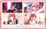 4girls animal_ears bare_legs barefoot black_legwear blush book book_stack bow brown_hair chair character_name closed_eyes closed_mouth commentary curtains day doki_doki_literature_club drink drinking_straw earphones earphones english_commentary eyebrows_visible_through_hair fake_animal_ears fang flower frilled_skirt frills green_eyes grin hair_between_eyes hair_bow hair_ornament hairclip headphones holding holding_book holding_drink indoors knees_on_chest long_hair looking_at_viewer manga_(object) miniskirt monika_(doki_doki_literature_club) multiple_girls natsuki_(doki_doki_literature_club) off-shoulder_sweater off_shoulder open_mouth panels pantyhose pillow pink_hair pink_shirt pink_skirt plant ponytail potted_plant purple_hair reading ribbed_sweater rug satchely sayori_(doki_doki_literature_club) screen scrunchie shirt short_hair short_twintails sidelocks sitting skirt smile socks_removed straight_hair stuffed_animal stuffed_cow stuffed_toy sunlight sweater t-shirt turtleneck turtleneck_sweater twintails video_call violet_eyes white_shirt window wireless_earphones wooden_floor yuri_(doki_doki_literature_club)