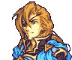 1boy bangs blue_eyes brown_hair close-up closed_mouth english_commentary eyepatch face fire_emblem glaceo long_hair looking_ahead lowres original pixel_art portrait solo transparent_background upper_body