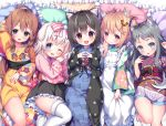 5girls :d ;d absurdres animal_ear_fluff animal_ears apron arm_up asa_no_ha bangs bed_sheet black_hair black_skirt blue_eyes blue_kimono blush bone_hair_ornament bow braid brown_eyes brown_hair brown_kimono cartoon_bone cat_ears checkered checkered_kimono copyright_request eyebrows_visible_through_hair floral_print frilled_apron frilled_pillow frilled_skirt frills fur-trimmed_legwear fur_trim green_kimono grey_eyes grey_hair hair_between_eyes hair_bow hair_ornament highres japanese_clothes kimono long_hair long_sleeves looking_at_viewer lying maid_apron multicolored_hair multiple_girls obi on_back one_eye_closed open_clothes open_mouth pillow pink_bow pink_kimono pleated_skirt print_kimono red_eyes sash short_hair skirt sleeves_past_wrists smile steepled_fingers streaked_hair striped striped_bow thick_eyebrows twin_braids upper_teeth very_long_hair wa_maid white_apron white_hair white_legwear wide_sleeves yellow_kimono