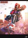 1boy air_jordan air_jordan_1 copyright_name highres hood hood_up hoodie looking_at_viewer marvel nike open_hand raruru solo spider-man:_into_the_spider-verse spider-man_(miles_morales) spider-man_(series) superhero white_eyes