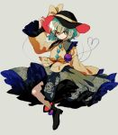 1girl black_footwear black_headwear blouse blush bow character_name closed_mouth floral_print green_skirt grey_background hand_up hat hat_bow ka_(marukogedago) komeiji_koishi long_sleeves looking_at_viewer shoes simple_background skirt smile solo touhou yellow_blouse yellow_bow
