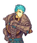 1boy aqua_eyes aqua_hair arm_up armor belt breastplate caspar_von_bergliez english_commentary fire_emblem fire_emblem:_three_houses gauntlets glaceo hand_on_hip looking_to_the_side male_focus parody pixel_art short_hair solo style_parody transparent_background