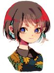 1girl blue_pupils brown_eyes brown_hair closed_mouth floral_print green_shirt ka_(marukogedago) looking_at_viewer original portrait shirt short_hair simple_background smile solo white_background