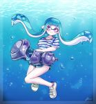 1girl air_bubble bangs blue_hair blue_shorts blunt_bangs blush bubble domino_mask full_body i_izu_izumi inkling long_hair mask pointy_ears shirt shoes short_sleeves shorts signature smile sneakers solo splatoon_(series) splatoon_2 squid striped striped_shirt tentacle_hair underwater violet_eyes white_footwear