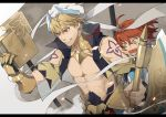 1boy 1girl abs ahoge arabian_clothes arm_tattoo arm_up bangs blonde_hair book chest commentary cropped_vest earrings fate/grand_order fate_(series) faulds fujimaru_ritsuka_(female) gauntlets gilgamesh gilgamesh_(caster)_(fate) gold_armor gorget grin hair_between_eyes hand_on_another's_arm holding holding_book holding_weapon jewelry kiragera looking_away looking_down pectorals popped_collar red_eyes redhead scared scrunchie short_hair side_ponytail single_gauntlet smile smoke spiral_eyes standing sweatdrop tattoo teardrop toned toned_male tsurime turban upper_body vest wavy_mouth weapon white_headwear yellow_eyes