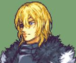 1boy angry blonde_hair blue_eyes breastplate cape close-up closed_mouth dimitri_alexandre_blaiddyd english_commentary eyepatch fire_emblem fire_emblem:_three_houses fur_cape glaceo green_background lowres parody pixel_art portrait short_hair solo style_parody