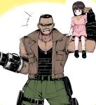 1boy 1girl arm_cannon barret_wallace belt black_hair brown_hair buzz_cut child cowboy_shot dark_skin dark_skinned_male dog_tags dress ear_piercing earrings father_and_daughter final_fantasy final_fantasy_vii final_fantasy_vii_remake grin highres jewelry marlene_wallace muscle open_mouth piercing pink_dress pocket ribbon shimure_(460) shoes sitting_on_arm smile socks sunglasses vest weapon