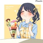 1girl bangs bird black_hair blue_shirt blush closed_eyes closed_mouth commentary dress eating food food_on_face fruit fukumaru_koito hair_ribbon holding holding_spoon ice_cream idolmaster idolmaster_shiny_colors kiwi melon parfait plaid plaid_dress pocky ribbon shirt sitting smile solo spoon strawberry torinabe twintails upper_body yellow_ribbon