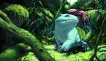 blurry blurry_foreground bulbasaur day depth_of_field forest gen_1_pokemon grass highres looking_at_viewer moss nature no_humans outdoors pokemon pokemon_(creature) realistic teru_sakura tree venusaur