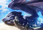 1girl bird blue_sky clouds cloudy_sky day dragon facing_away feathers from_behind grey_hair highres long_hair original outdoors rags sand sky solo teru_sakura torn_clothes