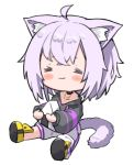 1girl :3 =_= ahoge animal_ear_fluff animal_ears blush cat_ears cat_tail chibi food holding holding_food hololive long_pants long_sleeves namaonpa nekomata_okayu onigiri pants pants_rolled_up purple_hair simple_background sitting solo symbol_commentary tail virtual_youtuber white_background