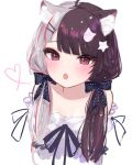 1girl :o ahoge animal_ear_fluff animal_ears bangs bare_shoulders black_bow black_hair black_ribbon blush bow brown_eyes cat_ears cat_hair_ornament collarbone cropped_torso eyebrows_visible_through_hair fang grey_hair hair_bow hair_ornament hair_over_shoulder hairclip heart keichan_(user_afpk7473) kemonomimi_mode long_hair looking_at_viewer multicolored_hair nijisanji off-shoulder_shirt off_shoulder open_mouth redhead ribbon shirt simple_background solo star_(symbol) star_hair_ornament streaked_hair twintails two-tone_hair upper_body virtual_youtuber white_background white_shirt yorumi_rena