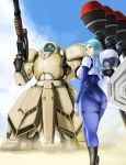 1girl ass blue_hair glowing glowing_eye green_eyes gun highres holding holding_gun holding_weapon hoshara looking_at_viewer looking_back looking_to_the_side mecha one-eyed original pilot_suit skin_tight weapon