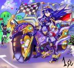 1girl bicycle blue_eyes blue_hair blush bodysuit breasts cape capelet chrom_(fire_emblem) cloak closed_mouth commentary_request fire_emblem fire_emblem_awakening gloves ground_vehicle highres long_hair looking_at_viewer lucina lucina_(fire_emblem) luigi mario_kart multiple_boys oomasa_teikoku open_mouth skin_tight smile tiara