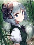 1girl artist_name ascot bamboo bamboo_forest black_bow black_hairband black_ribbon blurry_foreground bob_cut bow collared_shirt dated dutch_angle forest from_side green_vest grey_eyes hair_ribbon hairband highres hitodama konpaku_youmu konpaku_youmu_(ghost) looking_at_viewer nature portrait puffy_short_sleeves puffy_sleeves ribbon shirt short_hair short_sleeves silver_hair solo touhou vest white_shirt yolandabaka