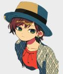 1girl brown_hair closed_mouth dress earrings fedora green_eyes grey_background hat highres jacket jewelry ka_(marukogedago) looking_at_viewer original red_dress shiny shiny_hair short_hair simple_background solo unmoving_pattern upper_body white_background