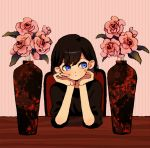 1girl :< black_shirt blue_eyes brown_hair closed_mouth flower ka_(marukogedago) looking_to_the_side original pink_background pink_flower pink_rose plant potted_plant rose shirt short_hair solo