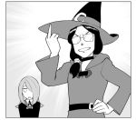 2girls character_request glasses greyscale hat little_witch_academia long_hair looking_at_viewer middle_finger monochrome multiple_girls open_mouth school_uniform smile sucy_manbavaran ueyama_michirou witch