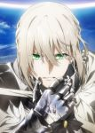 1boy armor artist_request bedivere castle commentary_request eyebrows_visible_through_hair fate/grand_order fate_(series) green_eyes grey_hair hair_between_eyes highres looking_at_viewer official_art parted_lips portrait reflection sky solo teeth