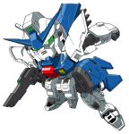 beni_(nikaidera) chibi clenched_hand g-saviour_gundam green_eyes gun gundam gundam_g-saviour highres holding holding_gun holding_weapon looking_at_viewer mecha no_humans solo v-fin weapon white_background