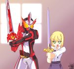 1boy 1girl absurdres ahoge armor artoria_pendragon_(all) blonde_hair blouse crossover dress excalibur eyebrows_visible_through_hair fate/stay_night fate_(series) flaming_eyes green_eyes hair_ribbon highres holding holding_sword holding_weapon horns kamen_rider kamen_rider_saber kamen_rider_saber_(series) orange_eyes reiei_8 ribbon saber short_hair single_horn skirt sword tokusatsu weapon wonder_ride_book