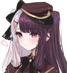 1girl bangs black_bow black_hair blush bow brown_headwear brown_jacket closed_mouth eyebrows_visible_through_hair hair_bow hair_ornament hairclip hat heart jacket keichan_(user_afpk7473) long_hair looking_away multicolored_hair nijisanji peaked_cap redhead sideways_hat silver_hair simple_background solo streaked_hair two-tone_hair two_side_up upper_body virtual_youtuber white_background yorumi_rena
