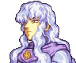 1boy berserk cape close-up closed_mouth english_commentary face fire_emblem frown glaceo glaring griffith_(berserk) intelligent_systems long_hair looking_down lowres nintendo parody pixel_art portrait purple_cape solo style_parody transparent_background upper_body white_hair