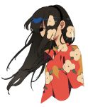1girl black_eyes black_hair black_hairband collared_shirt covered_mouth floral_print hair_over_mouth hair_over_one_eye hairband highres ka_(marukogedago) long_hair one_eye_covered original red_shirt shirt simple_background solo upper_body white_background wing_collar