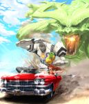 2girls :d :o anger_vein arm_tattoo bikini black_eyes blue_hair blue_sky breasts breathing_fire car day debris dragon driving earrings egg fire fleeing giant_monster gorilla ground_vehicle highres jewelry long_hair medium_breasts monster motor_vehicle multiple_girls open_mouth original outdoors red_bikini redhead robot sky smile swimsuit tagme tattoo teru_sakura