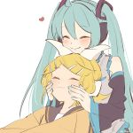 2girls :i aqua_hair aqua_nails aqua_neckwear bangs bare_shoulders black_collar black_sleeves blonde_hair bow cheek_squash chin_rest closed_eyes collar commentary detached_sleeves grey_shirt hair_bow hair_ornament hairclip hatsune_miku head_on_head headphones headset heart highres kagamine_rin light_blush long_hair m0ti multiple_girls nail_polish necktie on_lap orange_sweater sailor_collar shirt short_hair sitting sitting_on_lap sitting_on_person sleeveless sleeveless_shirt smile sweater swept_bangs twintails upper_body very_long_hair vocaloid white_background white_bow white_shirt yuri