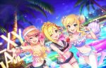 3girls blonde_hair blue_eyes coconut_tree fujimoto_rina grey_eyes highres idolmaster idolmaster_cinderella_girls idolmaster_cinderella_girls_starlight_stage innertube jewelry jougasaki_mika midriff multiple_girls nail_polish official_art one_eye_closed ootsuki_yui palm_tree ring tree yellow_eyes
