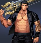 1boy abs bara bare_chest beard belt black_hair chain chest cowboy_shot facial_hair final_fantasy final_fantasy_xv gladiolus_amicitia gloves jacket leather male_focus manly muscle navel nipples open_clothes open_jacket over_shoulder sakuramarusan scar short_hair smile solo sword sword_over_shoulder tattoo weapon weapon_over_shoulder