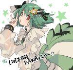 1girl \m/ ahoge bow braid green_hair green_nails hair_ornament idol kinako_(462) looking_at_viewer macross macross_frontier nail_polish ranka_lee see-through side_braid solo star_(symbol) star_hair_ornament