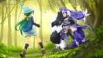 3girls animal_ear_fluff animal_ears battle black_hair breasts bucket_hat commentary commentary_request dire_wolf_(kemono_friends) forest fur_collar gradient gradient_legwear green_hair grey_hair grey_wolf_(kemono_friends) hat highres kemono_friends large_breasts multicolored_hair multiple_girls naka_(nicovideo14185763) nature outdoors plaid_neckwear ponytail purple_hair skirt tail tomoe_(kemono_friends)_(niconico88059799) two-tone_hair white_background wolf_ears wolf_girl wolf_tail