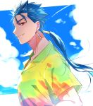 1boy bberry blue_hair closed_mouth clouds cu_chulainn_(fate)_(all) earrings fate/stay_night fate_(series) from_side hair_strand hawaiian_shirt jewelry lancer long_hair looking_at_viewer male_focus multicolored_shirt ponytail profile red_eyes shirt sky smile solo upper_body