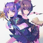 2girls :d arknights bangs bare_shoulders black_shirt blue_gloves blue_shirt blush book commentary cowboy_shot gloves grey_background hair_intakes hibiscus_(arknights) highres holding holding_book holding_knife holding_staff holding_weapon horns jacket knife lava_(arknights) long_sleeves looking_at_viewer miniskirt moaiman multiple_girls off-shoulder_shirt off_shoulder open_clothes open_jacket open_mouth pleated_skirt pointy_ears pouch purple_hair purple_skirt shirt short_hair short_sleeves siblings sidelocks simple_background sisters skirt smile staff violet_eyes weapon