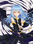 1other androgynous bangs bare_shoulders blue_hair closed_mouth detached_sleeves eyebrows_visible_through_hair hair_between_eyes highres katana long_hair long_sleeves looking_at_viewer rimuru_tempest sheath simple_background solo sword tensei_shitara_slime_datta_ken weapon white_background wings yellow_eyes zetchi_no_dianfeng