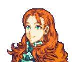 1girl annette_fantine_dominic close-up english_commentary face fire_emblem fire_emblem:_three_houses glaceo green_eyes long_hair looking_up lowres orange_hair parody pixel_art portrait smile solo style_parody transparent_background upper_body wavy_hair