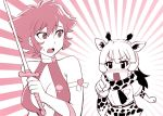 blush bow breasts choker commentary_request crossover cutie_honey cutie_honey_(character) gloves kemono_friends magical_girl monochrome multiple_girls open_mouth pointing reticulated_giraffe_(kemono_friends) short_hair sword ueyama_michirou weapon
