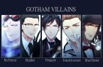 5boys absurdres araragi_soushi batman_(series) black_gloves black_hair black_headwear blue_eyes bow bowtie brown_eyes brown_hair cane character_name copyright_name edward_nygma facial_hair formal glasses gloves goggles goggles_on_head gotham_(series) hat highres jerome_valeska jervis_tetch looking_at_viewer mad_hatter_(dc) male_focus mr._freeze multiple_boys mustache necktie oswald_chesterfield_cobblepot red_bow stubble suit the_joker watch white_gloves