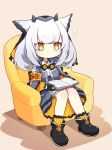 1919_decoy 1girl animal_ears armband armchair bangs book boots chair dress eyebrows_visible_through_hair goggles goggles_around_neck highres jacket long_hair long_sleeves orange_eyes owl_ears ptilopsis_(arknights) rhine_lab_logo silver_hair solo white_dress yellow_eyes zipper