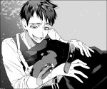 1boy :d batman_(series) black_hair collar dog freckles gotham_(series) greyscale heavy_breathing male_focus messy_hair monochrome open_mouth oswald_chesterfield_cobblepot shirt smile too_mizuguchi upper_body white_shirt