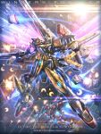 character_name copyright_name firing glowing glowing_eyes gottrlatan green_eyes gun gundam highres holding holding_gun holding_weapon looking_at_viewer mecha missile raruru solo_focus v-fin v2_gundam victory_gundam weapon
