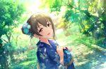 blush brown_hair fujiwara_hajime idolmaster_cinderella_girls_starlight_stage kimono long_hair red_eyes smile
