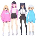 4girls :d absurdres alternate_costume bare_legs baseball_cap black_footwear black_legwear black_neckwear black_shorts black_skirt blush boots buran_buta casual choujigen_game_neptune_mk2 cross-laced_footwear expressionless full_body hair_between_eyes hand_on_hip hands_in_pockets happy hat highres jacket knee_boots legs long_hair looking_at_viewer multiple_girls necktie nepgear neptune_(series) off_shoulder open_clothes open_jacket open_mouth oversized_clothes pantyhose pink_hoodie pink_jacket ram_(neptune_series) rom_(neptune_series) shirt short_hair short_shorts shorts siblings simple_background sisters skirt smile staring twins two_side_up uni_(neptune_series) very_long_hair very_long_sleeves white_background white_footwear white_legwear white_shirt