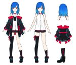 1girl aoi_thomas bangs bare_arms bare_shoulders black_footwear black_jacket black_legwear black_shorts blue_hair closed_mouth collared_shirt dress_shirt eyebrows_behind_hair hair_ornament highres jacket light_smile multiple_views off-shoulder_jacket original red_eyes shirt shoes short_shorts shorts simple_background single_sock single_thighhigh sleeveless sleeveless_shirt socks standing thigh-highs virtual_youtuber white_background white_shirt