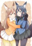 2girls animal_ears arashio_(kantai_collection) asashio_(kantai_collection) blush breasts cosplay ezo_red_fox_(kemono_friends) ezo_red_fox_(kemono_friends)_(cosplay) fox_ears fox_girl fox_tail highres kantai_collection kemono_friends kemonomimi_mode medium_breasts multiple_girls rakisuto silver_fox_(kemono_friends) silver_fox_(kemono_friends)_(cosplay) tail