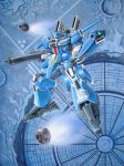 absurdres clenched_hands floating green_eyes gun gundam gundam_mk_v gundam_sentinel highres holding holding_gun holding_weapon looking_up mecha no_humans solo space taiyo_(taiyo-209) traditional_media v-fin weapon